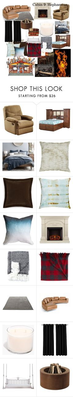 """""""Cabin 9: Hephaestus"""" by cutesyart ❤ liked on Polyvore featuring interior, interiors, interior design, home, home decor, interior decorating, Acme Furniture, DutchCrafters, Pottery Barn and Chandra Rugs"""