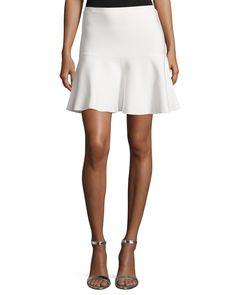BCBGMAXAZRIA Amilya Knit Bandage Flounce Skirt, Gardenia, Women's, Size: Small