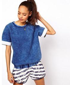 @roressclothes clothing ideas #women fashion ASOS Sweatshirt With Acid Wash