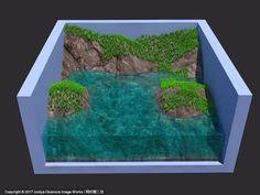 岩場、水面、草(3ds Max) Rocky shore, water and grass by 3ds Max