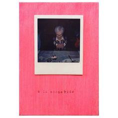 nonna ridens \ probabilmente di te #polaroid #impossibleproject #instantfilm, #acrylic on #canvas and #stamp @filmphotographic