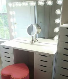 Ikea Hackers Makeup vanity with side shelving plenty of storage