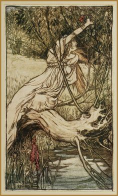 """Arthur Rackham TALES FROM SHAKESPEARE (1909) """"To This Brook Ophelia Came"""""""