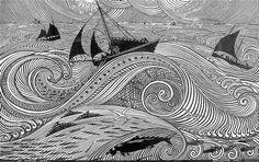 René Quillivic On the Open Sea 1921 Gravure Illustration, Art Et Illustration, Illustrations, Linocut Prints, Art Prints, Block Prints, Ink Pen Art, Engraving Printing, Linoprint