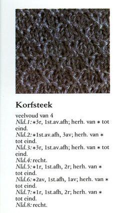 Korfsteek 001 - Breisteken Knitting Stiches, Knitting Books, Knitting Charts, Crochet Stitches, Knit Crochet, Baby Hacks, Baby Tips, Make Your Own Clothes, Handmade Christmas Gifts