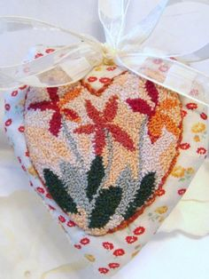 Flower Heart Ornament Punch Needle