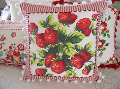 that I made using bits of vintage tablecloths (used, loved on and tattered). Added pom pom fringe, ric rac and ticking.Pillows that I made using bits of vintage tablecloths (used, loved on and tattered). Added pom pom fringe, ric rac and ticking. Embroidery Designs, Vintage Embroidery, Embroidery Services, Crewel Embroidery, Fabric Crafts, Sewing Crafts, Sewing Projects, Sewing Tutorials, Vintage Crafts