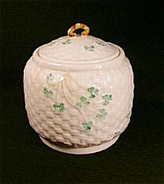 Belleek Shamrock Biscuit Barrel