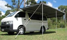 This wing awning is made with Australian made TEARLOK Argyle Canvas. Wraps around the rear of your to create a larger coverage area than normal. Caravan Awnings, Tent Pegs, Van Living, Camping Equipment, Roof Rack, Gold Coast, Colorful Backgrounds, 4x4