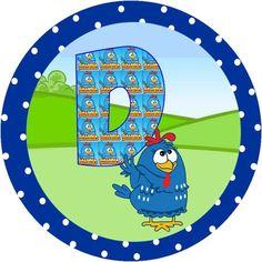 Alfabeto de Gallinita Pintadita dentro de círculos con lunares. | Oh my Alfabetos! Lottie Dottie, Alphabet, Smurfs, Kids Rugs, Stickers, Birthday, Party, Template, Number