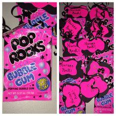 Nurses rock! Pink party candy for a student graduating nursing school.