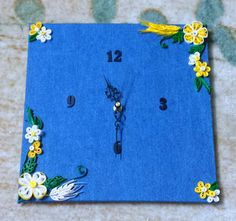 Handmade paper quilled wall clock