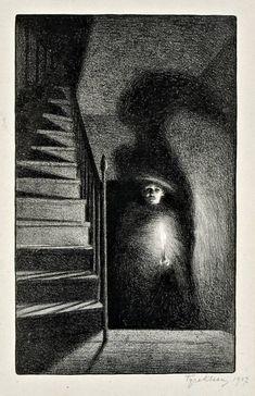 Tyra kleen, light and shadows, 1907 dark drawings, pencil drawings, charcoal drawings Shadow Drawing, Shadow Art, Drawing Faces, Manga Drawing, Arte Horror, Horror Art, Angst Im Dunkeln, Art Sinistre, Dark Drawings