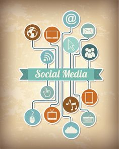 Social media icons over vintage background vector illustration.