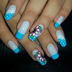 Diseño de uñas J Nails, Cute Nails, Manicure, Chevron Nail Art, Blue Acrylic Nails, Spring Nail Art, Trendy Nail Art, Toe Nail Designs, Birthday Nails