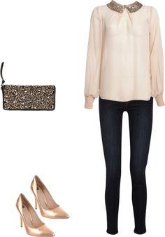 sparkle / embellished / adorned collar, allsaints clutch envelope, rose gold heels
