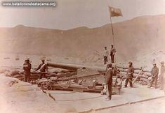 Fotografías Históricas de La Guerra del Pacifico 1879 _ 1884 PISAGUA EN 1879 CAÑÓN DEL SISTEMA PARROT DE 100 LIBRAS DEL FUERTE SUR, OCUPADO POR LAS FUERZAS DE CHILE.