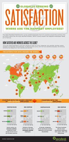 Cartographie du bonheur au travail -    Dans quel pays trouve-t-on le plus de salariés heureux ? Pour le savoir, Zendesk s'est basé sur les données d'un sondage de Randstad.