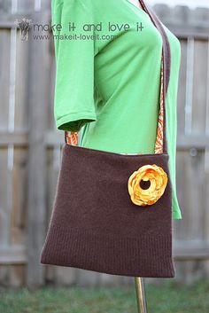 Recycle an old sweater into an awesome bag. http://www.makeit-loveit.com/2010/11/re-purposing-sweater-into-sling-purse.html