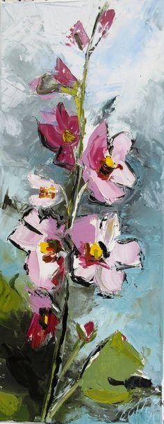 Les roses trémières : 20/50 cm: huile sur toile