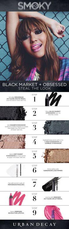 Naked Smoky: Black Market (lid), Daggar (lid), High + Combust (browbone), Dirtysweet (inner corner)