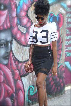 Fashion Forward! curvesincolor:  Tanya. Crop Top and bodycon mini skirt