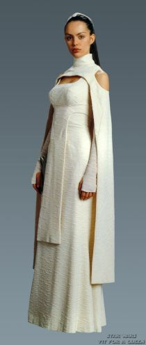 Sheltay Retrac, Star Wars Episode III.  Wearing a dress that originated as concept art for Padme.  Sadly I cannot remember the actress' name.