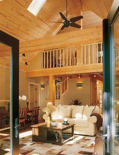 Great room with loft overlook  -  Island Retreat Log Home