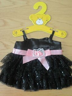 BEAR FACTORY / BUILD A BEAR CLOTHING - HELLO KITTY BLACK SEQUINNED PROM DRESS