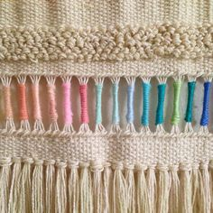 Pastel rainbow Weaving woven wall hanging tapestry by Maryanne Moodie. Pastel rainbow W Weaving Textiles, Weaving Art, Weaving Patterns, Tapestry Weaving, Loom Weaving, Hand Weaving, Quilt Patterns, Stitch Patterns, Woven Wall Hanging