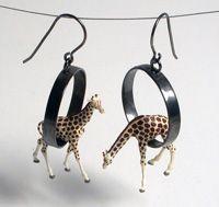 Giraffe Earrings by Kristin Lora $130