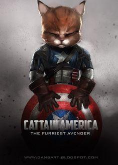 More furry madness! Marvel Funny, Marvel Memes, Cute Animal Drawings, Cute Drawings, Cat Superhero, Best Avenger, Captain America Costume, Creepy Cat, Marvel Tattoos