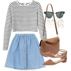Untitled #608 - Polyvore/// striped shirt, denim skirt, pointed flats