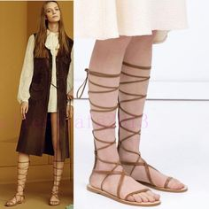 Women's Cow Leather Strappy Lace Up Knee High Sandals Boots Flat Roman Gladiator #new #KneeHigh