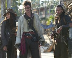 "Zach McGowan as Captain Charles Vane, Toby Schmitz as Rackham, Clara Paget as Anne Bonny,  from ""Black Sails"""