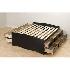 Black Tall Full 12-drawer Captain's Platform Storage Bed