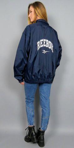 Vintage 90s Spell Out Reebok Windbreaker Navy Blue Big Logo Zip Up Track Jacket Nylon Bomber Old School Retro Hipster Coat Streetwear by BlueFridayVintage on Etsy