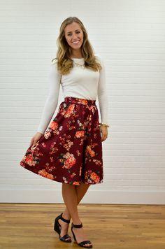 Floral Burgundy Midi Skirt - My Sisters Closet