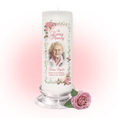 3x9 Pillar Candles : Blush Memorial Pillar Candle Unscented White, stand optional