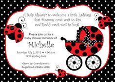 Ladybug Baby Shower Party Invitations