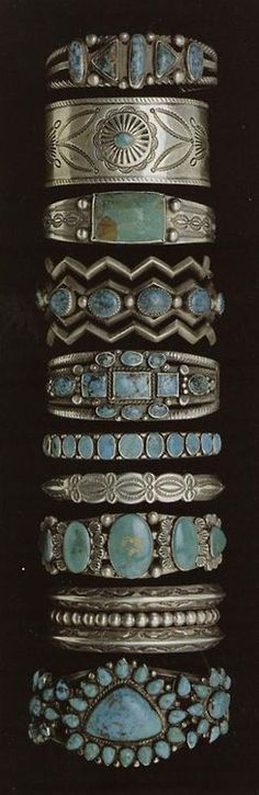 Love all of these. Navajo bracelets from the Millicent Rogers collection.