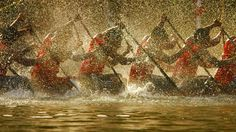 Competitors in the Nehru Trophy Boat Race in Alappuzha, India