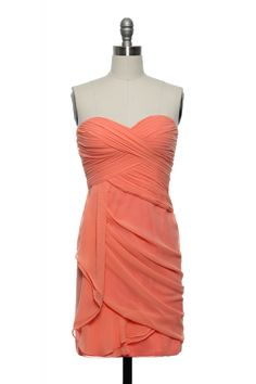"coral tube top dress. ""Divinely Draped Dress"""