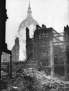 London's burning: Ruins of a building in the shadow of St Paul's still smoulder a week after the Blitz on the city in December 1940 Vintage London, Old London, London City, Blitz London, London History, British History, Asian History, Tudor History, Ancient History