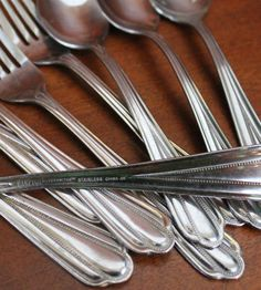 Great pattern with awesome beaded detail. Great for your next silverware craft project or to decorate your table. 1 serving spoon (7 3/4) 3 forks (8) 4 salad forks (6 3/4) 2 spoons (6 1/2) 1 sugar spoon (6) Stainless steel workhorses will go from the table to the dishwasher in a breeze
