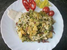 Potato Salad, Eggs, Potatoes, Meat, Chicken, Breakfast, Ethnic Recipes, Food, Morning Coffee