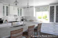 White Kitchen Georgica Pond - love the light fixtures, cabinets, counters, ceiling