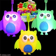 FLASHING OWL PUFFER YO-YO BALLS. Pick up by the loop and use as a punch ball to activate the flashing LED's inside. Batteries included. Assorted bright colors. Perfect for Easter basket toys, party favors and Christmas stocking stuffers.(1 dozen per display unit) Size 4 Inch owl, display unit 10 X 6 X 5.4 inches