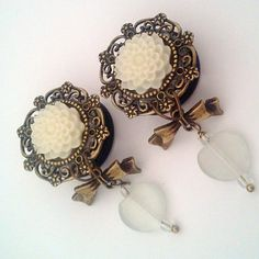 3/4 inch 19mm Pure Love Dangly Chrysanthemum Plugs by Glamsquared, $32.00