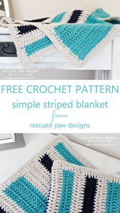 Simple Striped Crochet Blanket Pattern || Rescued Paw Designs www.rescuedpaw.com
